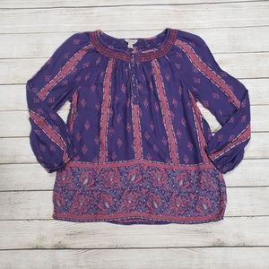 Lucky Brand Purple and Pink Flowy Top Medium